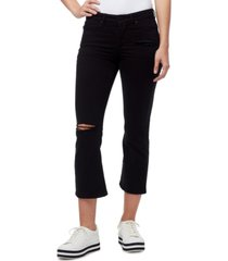william rast destructed slim bootcut cropped jeans