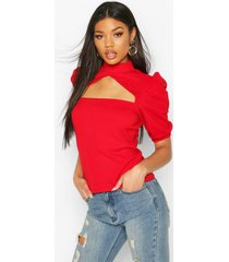 crepe cut out detail top, red