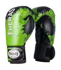 luva boxe muay thai fheras lines top black stain verde