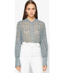 proenza schouler crepe chiffon blouse bluestone/blk woven dot 4