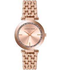 geoffrey beene women's rose gold metal alloy bracelet watch, 32 mm