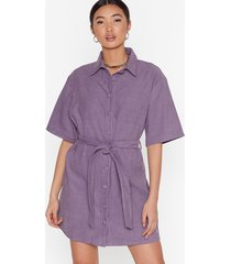 womens corduroy mini dress with tie belt at waist - lavender