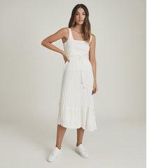 reiss lottie - pleated midi skirt in white, womens, size 14