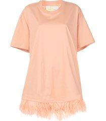feather hem t-shirt dress