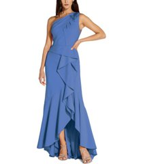 adrianna papell one-shoulder beaded ruffled gown