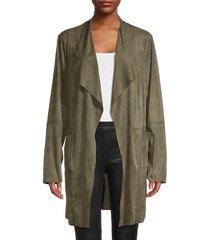 max studio women's open-front long jacket - olive tree - size l