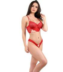 conjunto imi lingerie com bojo cropped em renda e tule diamante vermelho - multicolorido/vermelho - feminino - renda - dafiti