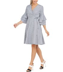 calvin klein cotton tiered-sleeve wrap dress