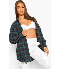 geruite oversized blouse, green