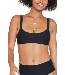 women's l space jess bikini top, size x-small - black