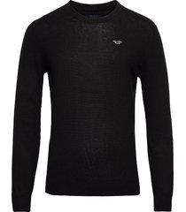 hco. guys sweaters stickad tröja m. rund krage svart hollister