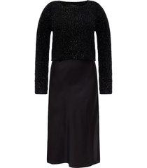 'rosetta' dress with sweater