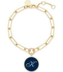 brook & york 14k gold plated callie enamel initial bracelet