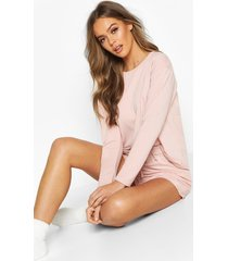 crop & short sweat pyjama set, rose
