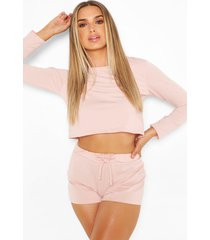 short sweat pyjama set, rose