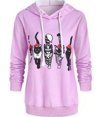 christmas drawstring cat print graphic hoodie