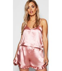 plus satin ruffle cami pyjama set, rose