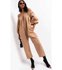 akira tap in off the shoulder jumpsuit