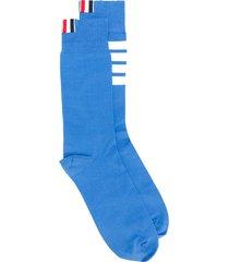 thom browne 4-bar lightweight mid-calf socks - blue
