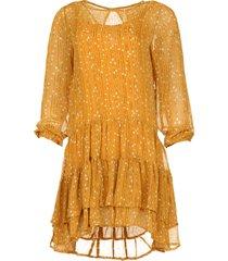 jurk met print piper  geel