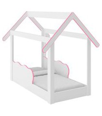 cama montessoriana branca/rosa djd móveis
