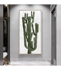 quadro 100x50cm folhas tropicais cacto candelabro canvas em moldura flutuante filete