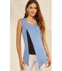 camiseta sin mangas yoins blue color block slit diseño redondo cuello