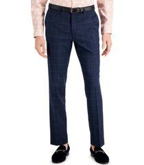 inc men's slim-fit blue windowpane plaid suit pants, created for macy's