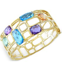 effy multistone (29 ct. t.w.) and diamond (1/2 ct. t.w.) bangle bracelet in 14k gold