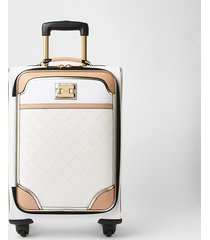 river island womens white monogram embossed suitcase