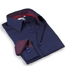 levinas men's tailored-fit dress shirt - navy - size 14.5