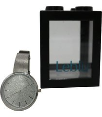 reloj plateado leblu glitter
