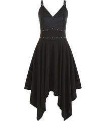 plus size grommets buckle straps hanky gothic dress