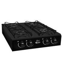 fogão de mesa a gás 4 bocas clarice junior acendimento manual preto