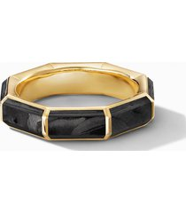 men's david yurman faceted 18k yellow gold band ring with forged carbon