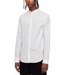 long sleeve all-over mesh logo button shirt