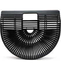 bolsa clutch de bambu isla galerias grande cor preta