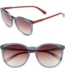 women's longchamp 56mm round sunglasses - petrol berry