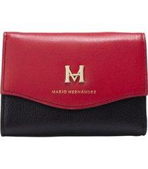 billetera mediana negro rojo cayena elemental