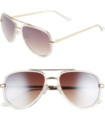 women's quay australia all in 52mm mini aviator sunglasses - light pink/ blue fade