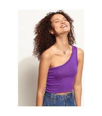 top cropped de tricô feminino um ombro só alça larga roxo
