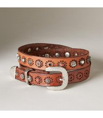 women's ravenna starburst genuine leather studded belt