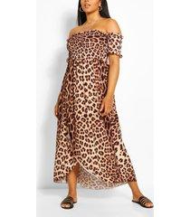plus luipaardprint off shoulder maxi jurk, brown
