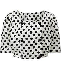 lisa marie fernandez women's polka dots linen top - white black - size s