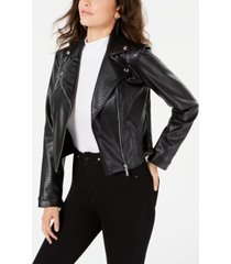 guess rosetta viper faux-leather moto jacket
