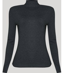 blusa feminina básica manga longa gola alta cinza mescla escuro