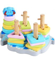 cartoon madera elefante cinco conjuntos de bloques de forma color cinc