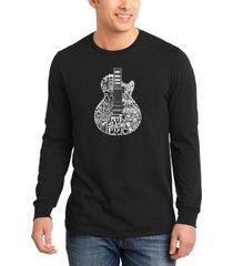 men's rock guitar head word art long sleeve t-shirt