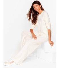 womens knit's our way sweater and pants lounge set - ecru