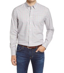 men's johnnie-o curtis classic fit plaid button-down shirt, size small - grey